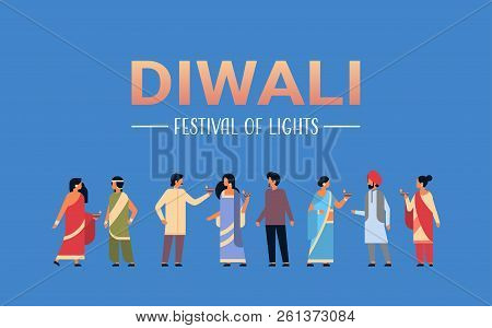 Happy Diwali Indian People Group Wearing National Traditional Clothes Holding Oil Lamp Hindu Man Wom