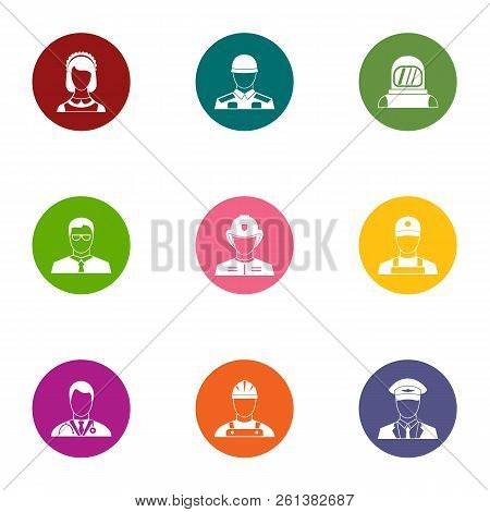 Portraiture Icons Set. Flat Set Of 9 Portraiture Vector Icons For Web Isolated On White Background