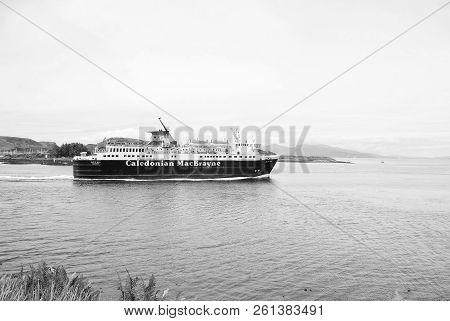 Oban, United Kingdom - February 20, 2010: Cruise Liner Caledonian Macbrayne In Sea. Holiday Ship Nav