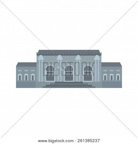 Grey Facade Historical Building Icon. Flat Illustration Of Grey Facade Historical Building Icon For
