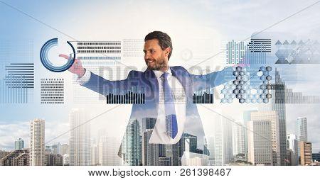 Businessman With Briefcase Business Center Background. Financial Statistics Digital Technology. Digi