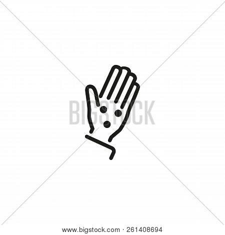 Allergic Rash On Hand Line Icon. Eczema, Viral Disease, Chickenpox. Allergy Concept. Vector Illustra