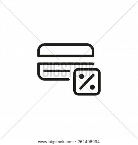 Cash Withdrawal Fee Line Icon. Credit Commission, Credit Card Payment Discount, Deposit Percentage.