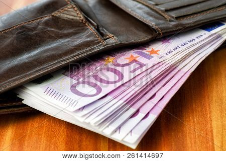 Wallet Full Of  500 Euro Cash Money Banknotes. Close Up View