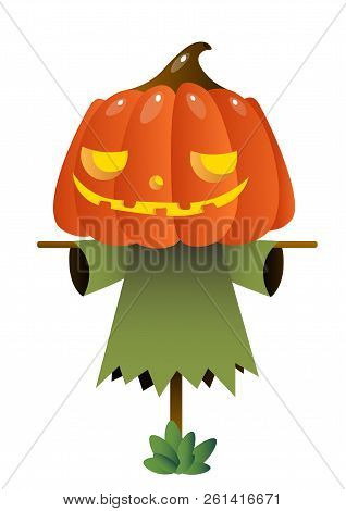 Scarecrow With Pumpkin Head. Decoy, Horror, Cartoon. Halloween Concept. Can Be Used For Greeting Car