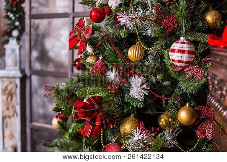 Merry Christmas And Happy Holidays. A Beautiful Living Room Decorated For Christmas.festively Decora