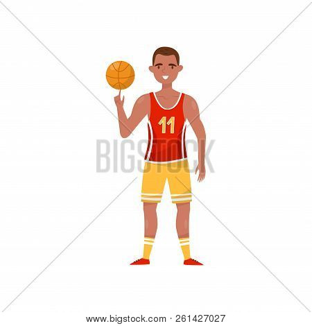 Male Basketball Player, Professional Sportsman Character In Uniform With Ball, Active Sport Lifestyl