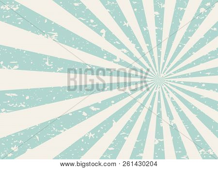 Sunlight Wide Retro Faded Grunge Background. Green And Beige Color Burst Background.
