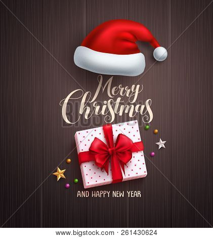 Christmas Concept Vector Design With Merry Christmas Greeting Text, White Gift And Santa Hat Element