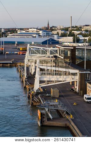 Editorial 08.09.2018 Turku Finland, Gangways Of The Silja Line Terminal In Turku Finland