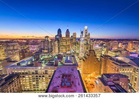 Philadelphia, Pennsylvania, USA downtown city skyline from above at twilight.