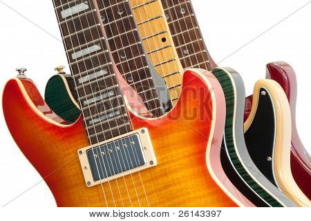 Electric Guitars On White