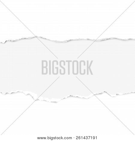 Realistic Torn Paper Set With Ripped Edges, Space For Text. Torn Paper Edge. Vector Illustration