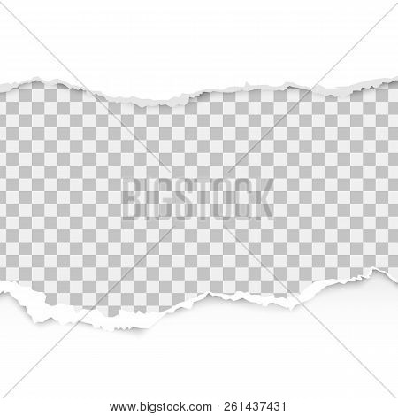 Realistic Torn Paper Set With Ripped Edges, Space For Text On Transparent Background. Torn Paper Edg