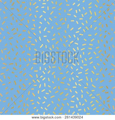 Gold Foil On Blue Party Sprinkles Seamless Repeat Vector Pattern. Elegant Luxury Metallic Shiny Gold