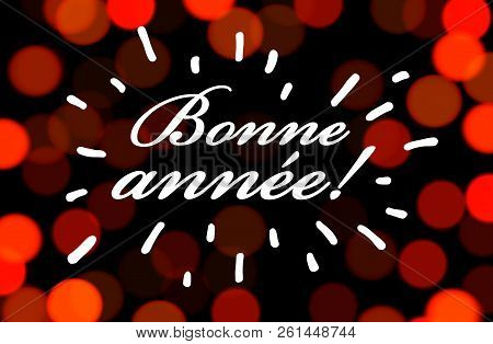 Happy New Year Greeting Card On Red Bokeh Background.