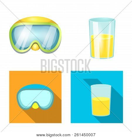Vector Illustration Of Equipment And Swimming Sign. Collection Of Equipment And Activity Vector Icon