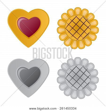 Isolated Object Of Biscuit And Bake Symbol. Set Of Biscuit And Chocolate Stock Vector Illustration.