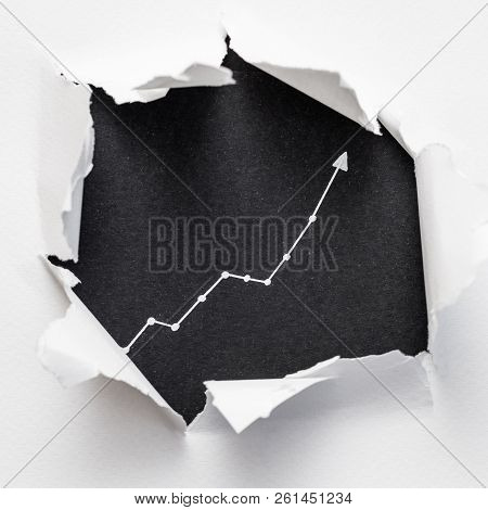 Exponential Diagram On Black Background Showing Through Ripped White Paper. Trend Success Increase C