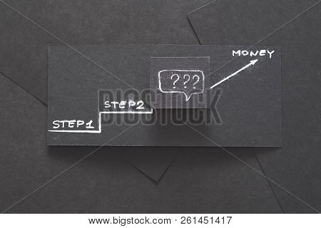 Stages To Financial Success. Last Step In Reaching The Money Goal Is Unknown. Layered Black Paper Ba