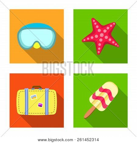Isolated Object Of Equipment And Swimming Icon. Set Of Equipment And Activity Stock Vector Illustrat