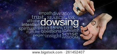 Dowsing With A Crystal Pendulum Word Cloud Banner - Female Hand Holding A Clear Quartz Crystal Dowsi