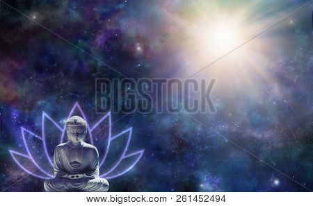 Buddhism Enlightenment Background - Buddha in seated position with a lotus flower symbol behind against a dark starry night sky with a magnificent light burst in the top right corner and copy space poster