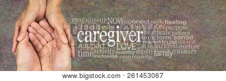 Rustic Caregiver Word Tag Cloud - Female Hands Gently Cupped Around Male Cupped Hands Beside The Wor