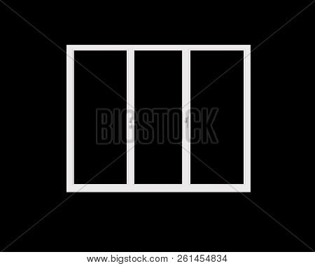 Frame Of Plastic Window Isolated On Black Background. 3d Illustration. Window Frame Isolated On Dark