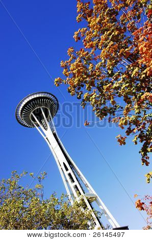 The seattle space needle in the autumn, against a clear blue sky
