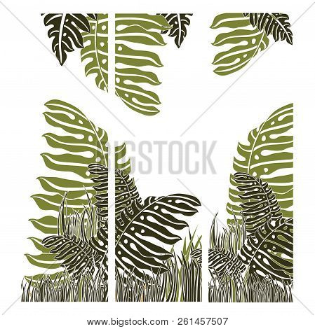 Green braun and white  vector tropical background poster