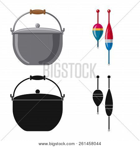 Isolated Object Of Fish And Fishing Sign. Collection Of Fish And Equipment Stock Vector Illustration