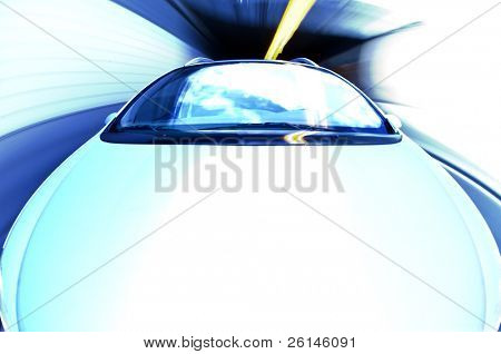 A car exiting a tunnel. The effect is created with the whitebalance and using a high key - overexposure. Intended as-is.