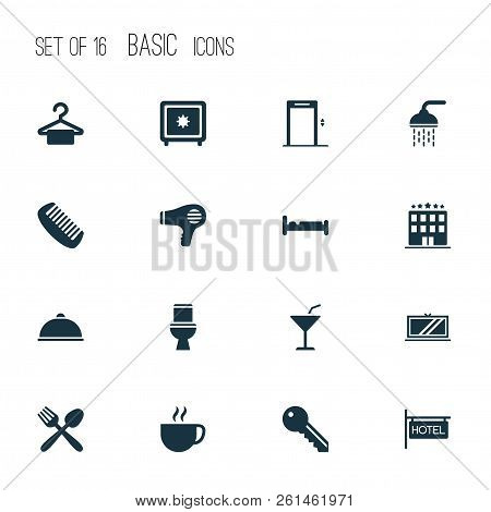 Hotel Icons Set With Hotel Sign, Meal, Tv And Other Restaurant Elements. Isolated Vector Illustratio