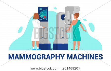 Mammography Machines Vector Illustration Of Breast Diagnosis