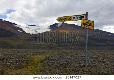 The rough interior road to the Askja volcano in Iceland