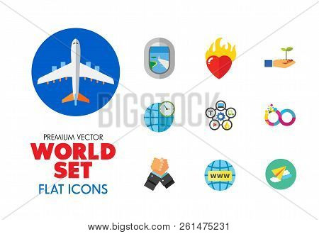 World Icon Set. Fairy Tales Infinity Sign Burning Heart Air Show Plane Window Hand Holding Plant Int