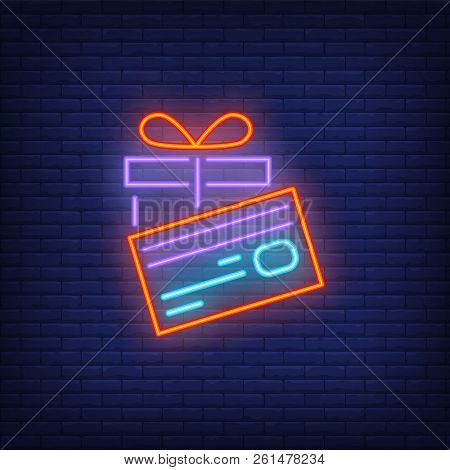 Gift And Pay Card Neon Sign. Glowing Present And Pay Card. Night Bright Advertisement. Vector Illust