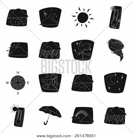 Vector Illustration Of Weather And Climate Icon. Set Of Weather And Cloud Vector Icon For Stock.