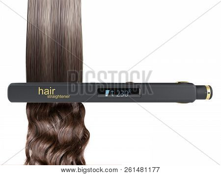 The Concept Of Gentle Hair Alignment Electric Curling Iron Hair Straightener With Ceramic Plates 3d