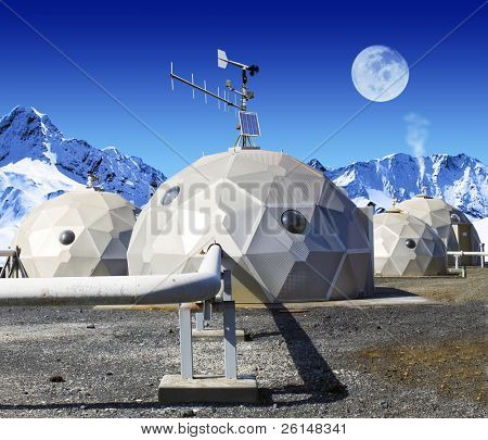 Geodomes in the tundra. The moon is viewable in the sky. No people are viewable. Squarely framed shot.
