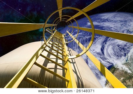 Close-up of ladder mechanism on ship in outer space. A cropped view of Earth is viewable in the background. Horizontally framed shot.