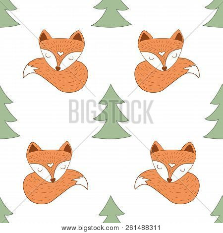 Scandinavian Style Seamless Of Red Sleepy Foxes And Christmas Tree On White Background For Using In