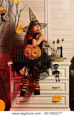 Little Girl Daydreaming On Halloween, Imagination. Little Girl Fancy A Dream On Halloween. Creative