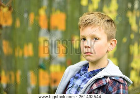 Serious And Smart. Serious Boy. Small Boy Look Serious. Small Child With Thinking Face. Focusing On