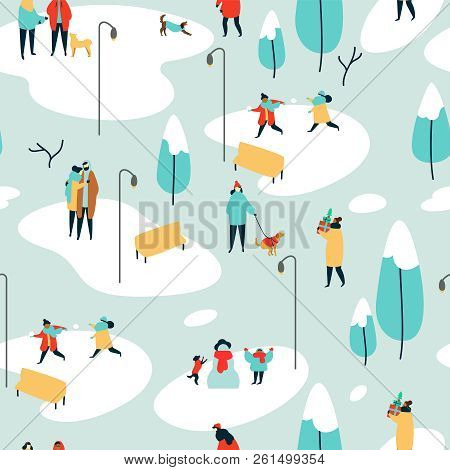 Christmas Season Seamless Pattern Of Diverse People At Outdoor Park In Winter. Holiday Background Wi