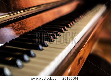 Piano Keys. Piano Shot Close Up. Musical Instrument.