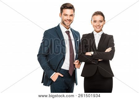 Successful Young Business Partners In Stylish Suits Looking At Camera Isolated On White