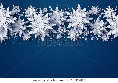 Vector Merry Christmas And Happy New Year Greeting Card Design With White Layered Paper Cut Snowflak