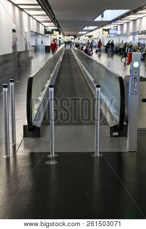 VIENNA, AUSTRIA - JANUARY 4, 2018:  Moving walkway  transportation from Schwechat International airport in Vienna.